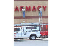 Men on ladders performing bird removal at a pharmacy