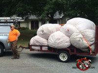A trailer piled high with bags of contaminated insulation to be disposed of