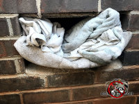 Someone stuffed a towel in an opening in a brick wall of a house to try to keep opossums out