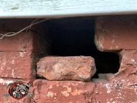 Several bricks are missing from a house in Jefferson Georgia and an opossum got into the crawl space through the opening