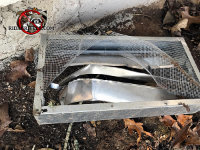 Raccoons tore up the screen and damaged the slats in a crawl space vent cover that is laying on the ground outside a house