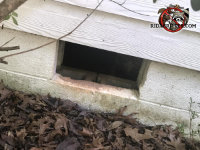 Missing vent on a cinder block foundation of a house in Athens Georgia