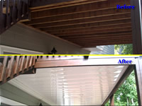 Before-and-after pictures of a Dry Under Decks Installation